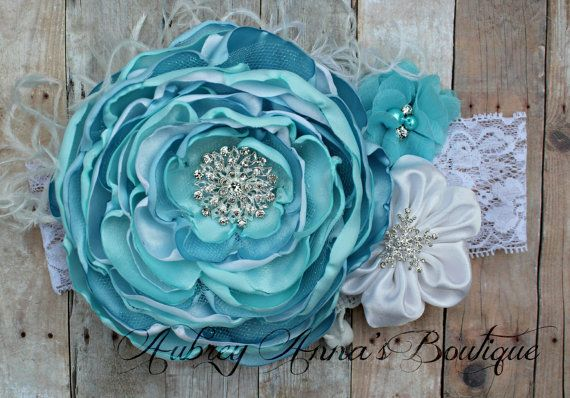 Frozen Headband, Elsa Inspired, OTT, Couture, Singed Satin Flower, Satin Flower Headband, Photo Prop, Photography