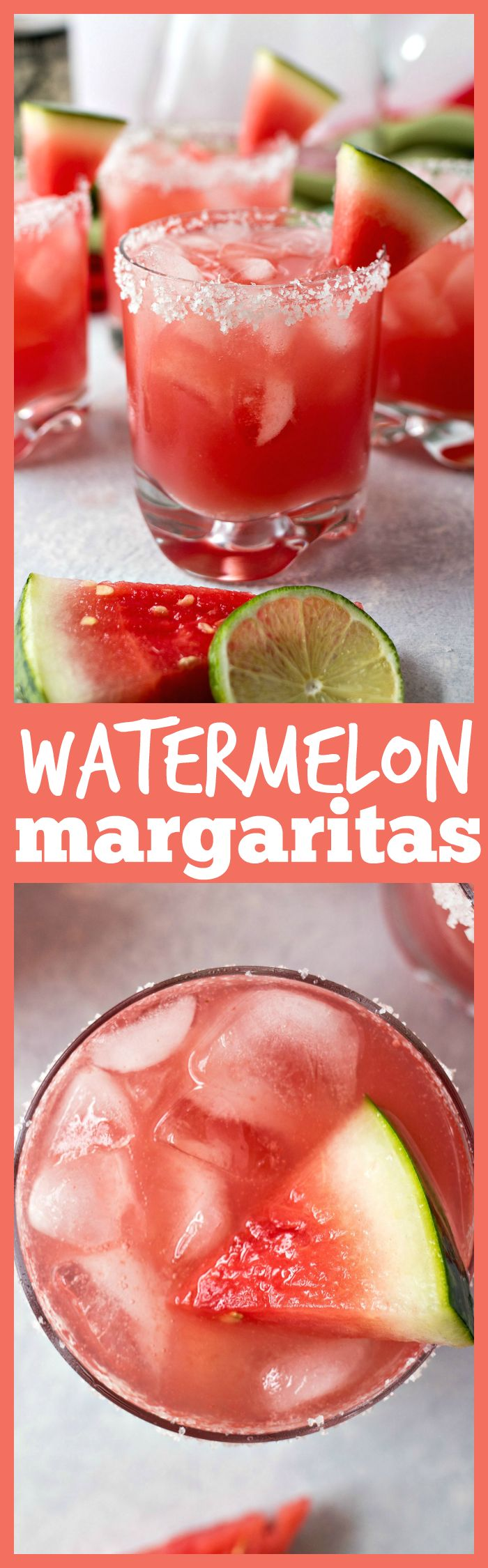 Watermelon Margaritas – A refreshing margarita that is made with fresh watermelon juice, triple sec, fresh lime juice, and silver tequila. The perfect drink for summer parties and barbecues!