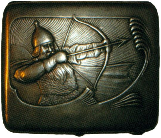 Портсигар в стиле модерн «Богатырь» Начало XX века