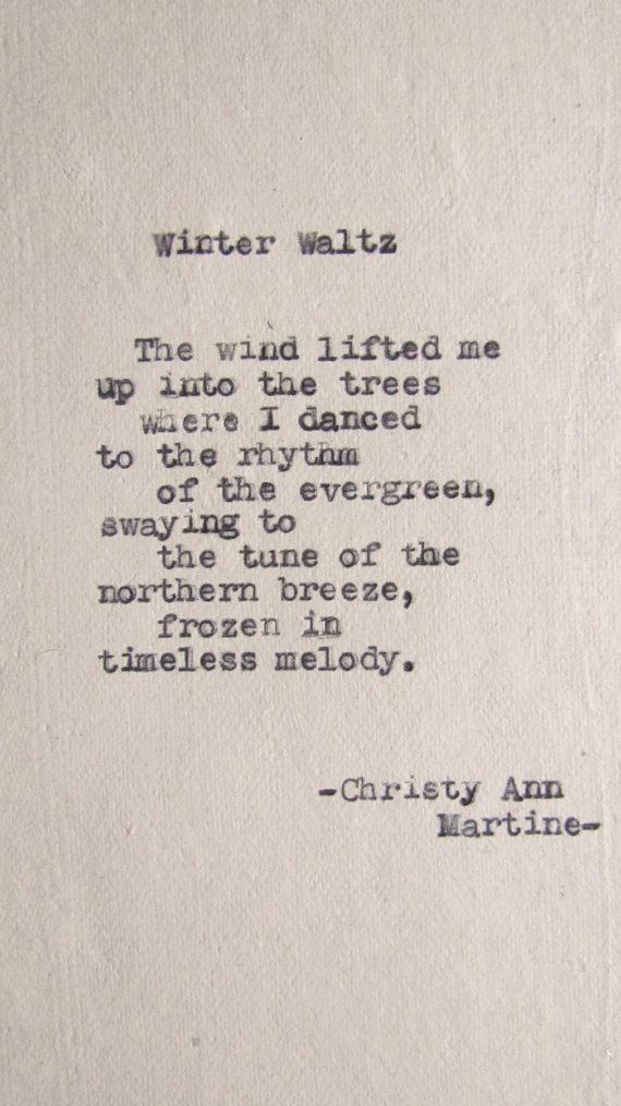 Poetry Sayings Quotes - Winter Waltz Poem Typed on 100 Cotton Paper by Christy Ann Martine - Etsy