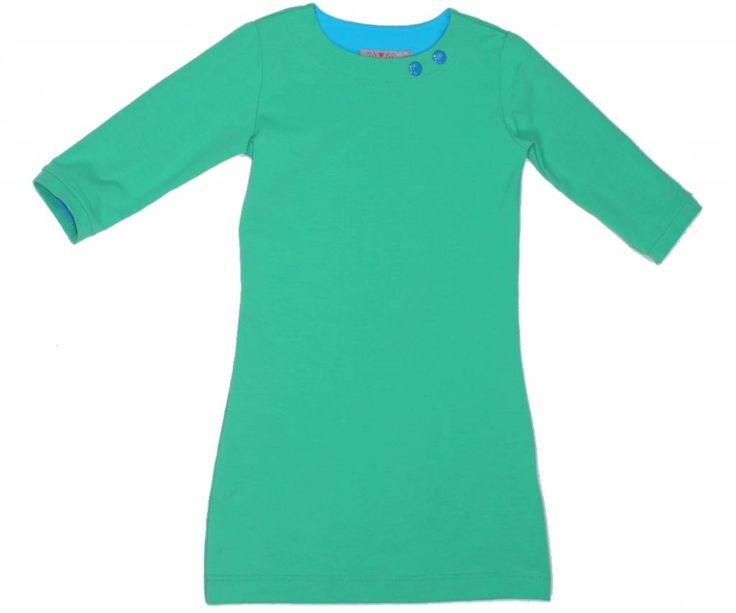Mooie zeegroene jurk met driekwart mouwen
