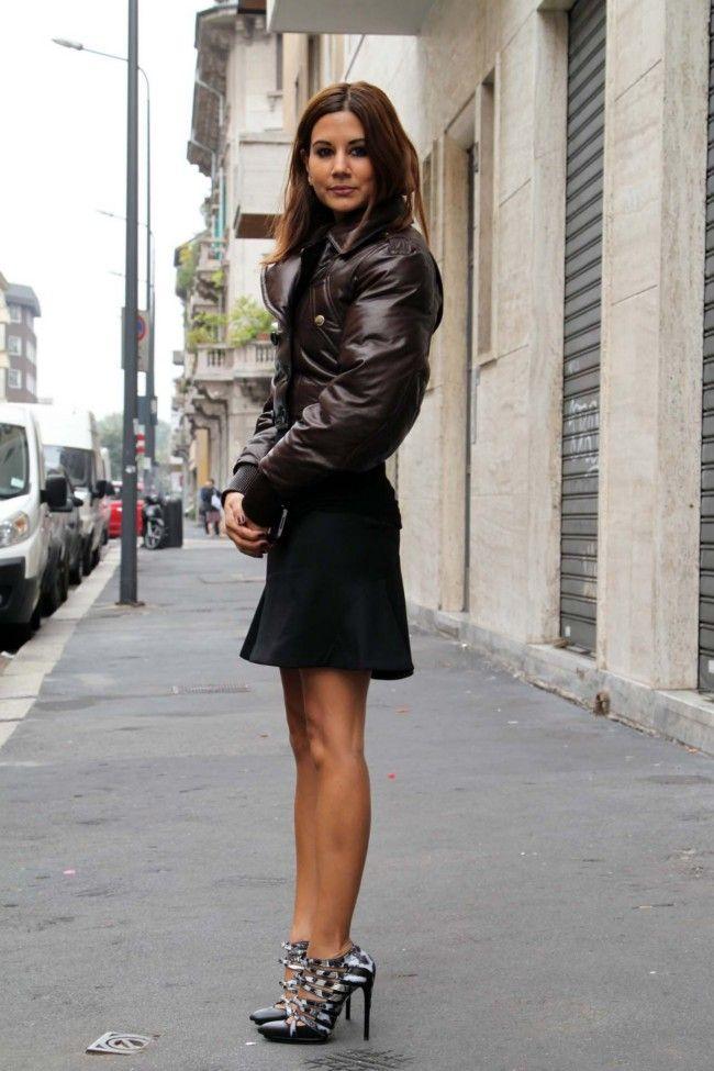 Christine Centenera at Paris Fashion Week Sept 2012. Christine Centenera wears Burberry bomber jacket. Stella McCartney skirt. Balenciaga shoes.
