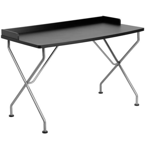 Contemporary Black Laminate Metal Computer Desk W/Silver Frame