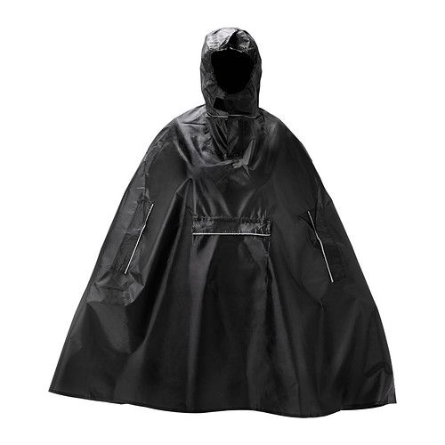 IKEA - KNALLA, Rain poncho, black, , Easy to keep on hand, since the poncho folds into its own pocket and fits in your backpack or briefcase. The hood stays in place even in windy conditions, since it closes under your neck with an adjustable hook and loop fastener.Handy pocket on the front of poncho makes it easy to reach your wallet, keys and mobile phone.