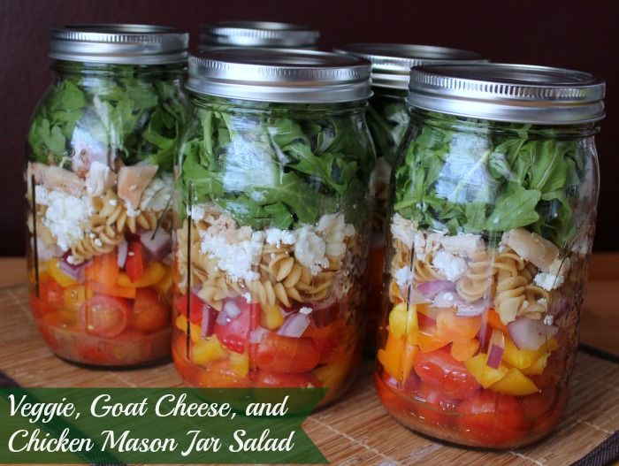 Veggie, Pasta, Goat Cheese, Arugula and Chicken with Olive Oil and Vinegar Dressing Mason Jar Salad.