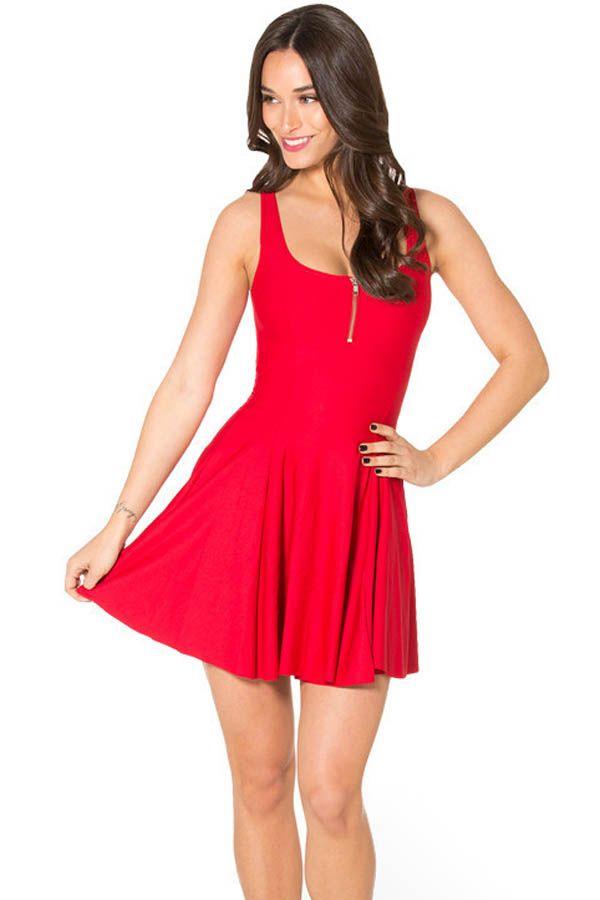 Red Zip Up Front Sleeveless Skater Dress #Red #Dress #maykool