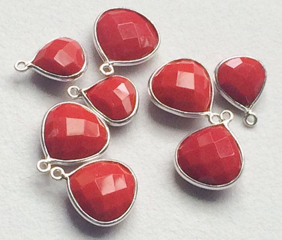 Coral Connectors 4 pcs Coral Heart Shape Both by gemsforjewels