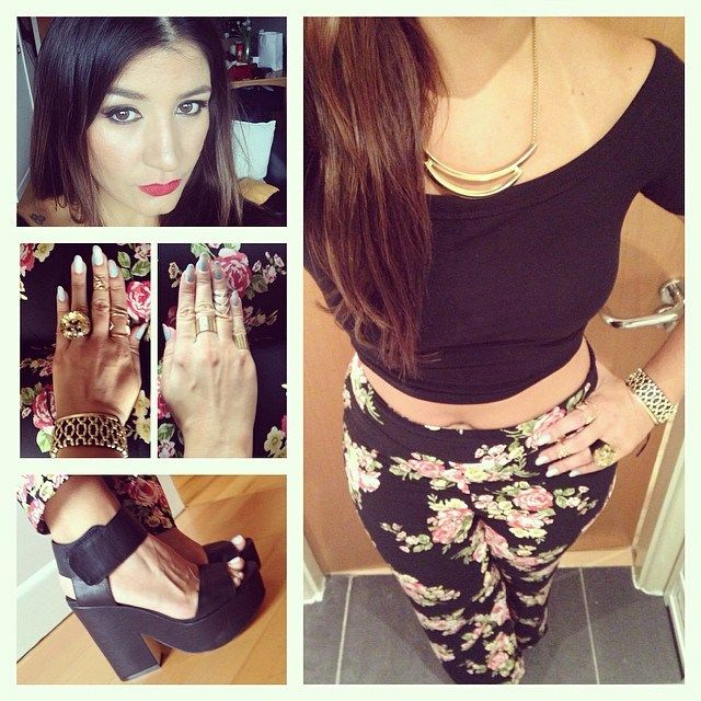 Printed trousers from Forever 21, crop off the should black top from Miss Selfridge, black wedge sandals from New Look, necklace and bracelet from New Look, rings from Sobral, Primark, The Rogue and The Wolf and H&M.
