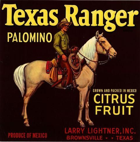 Brownsville, Texas TX - Vintage Texas Ranger Cowboy Orange Citrus Fruit Crate Box Label Advertising Art Print. Printed on highest quality stock soft gloss paper. Actual image dimensions are approximately 10 x 10 inches.