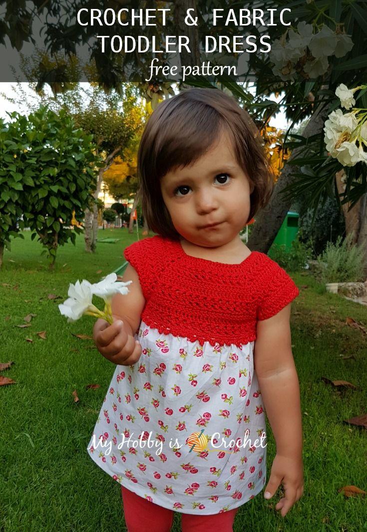 Crochet & Fabric Toddler Dress- Free Crochet Pattern on myhbbyiscrochet.com