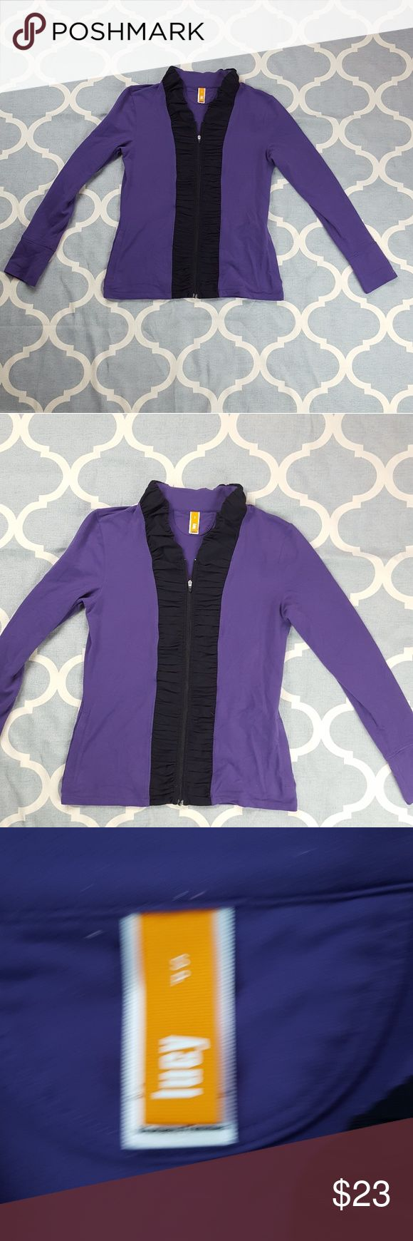 """Lucy Techwear Zip up Sweatshirt Purple Small Petit Brand: Lucy Techwear Style: ZIp up sweatshirt Color: Purple/ black Fabric: Nylon blend Size: Small Petite Condition: Used, good  Approximate measurements taken when garment was laid flat- not stretch: Overall length:  24"""" Chest:   17"""" Sleeve length from shoulder hem: 23  """"  E145 &e Lucy Tops Sweatshirts & Hoodies"""