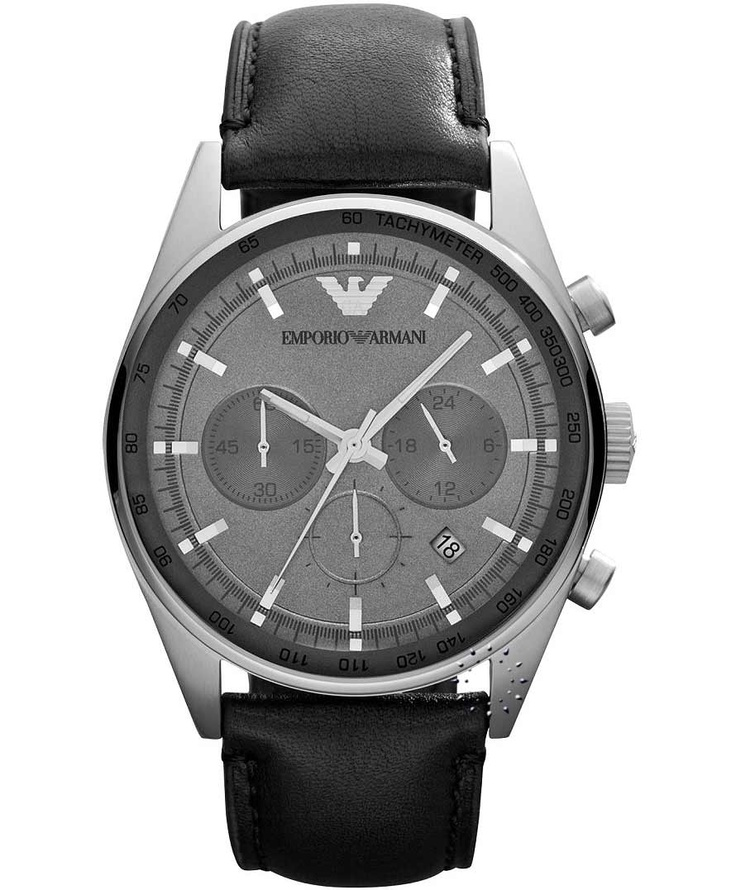 Emporio Armani Chronograph Black Leather Strap, 314€ http://www.oroloi.gr/product_info.php?products_id=33555