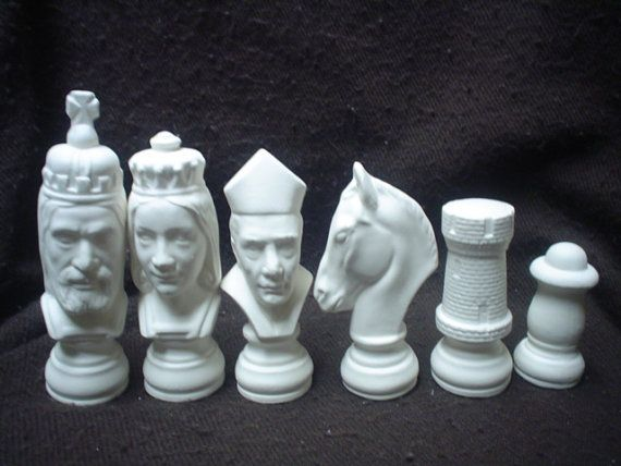 Ceramic Bisque R & R Medieval 32 Piece Chess Set -Unpainted - Ready-to-Paint - E423