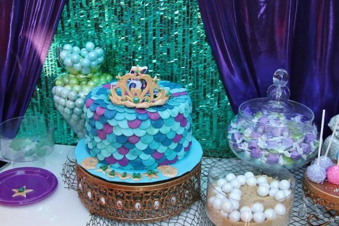 Little mermaid themed birthday party via kara 39 s party for Ariel decoration party
