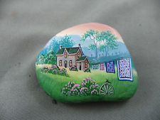 Artisan Hand Painted Rock Brooch Nova Scotia Quilts on Clothesline Homestead DWE