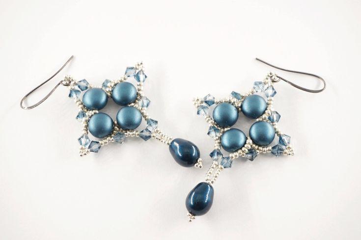 Beaded swarovski earrings; #swarovski #beaded #earrings #handmade #crystal #drop #petrol #tizianat #giftidea #mothersday #gift #uniquegiftidea http://etsy.me/2CaMAZj