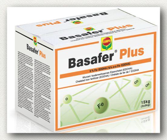 ΙΧΝΟΣΤΟΙΧΕΙΑ_Basafer Plus Χηλικό λίπασμα σιδήρου 6% EDDHA, με περιεκτικότηα 80% σε ortho-ortho. Κορυφαίας καθαρότητας ιδανικός για την πρόληψη και αντιμετώπιση των τροφοπενιών σιδήρου σε κάθε καλλιέργεια. Συνιστάται για εφαρμογή από το έδαφος.  Εγκεκριμένο για χρήση στην βιολογική γεωργία.  Συσκευασία: Χαρτοκιβώτια 14 Χ 1 κιλών, 3 Χ 5 κιλών, 20 κιλών.