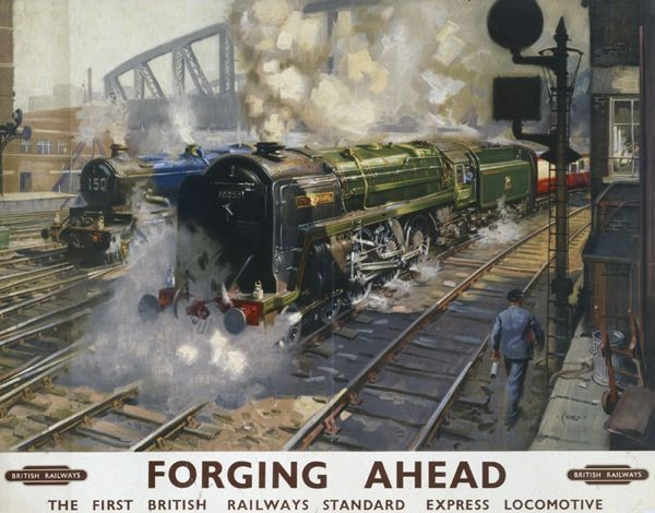 1951 British Railways poster Terence Cuneo - Forging Ahead.