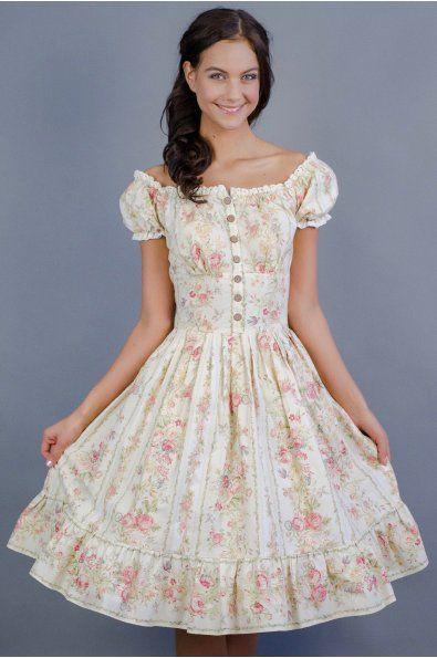 Letní květinové boho šaty     lodičkový výstřih se spadlými ramenami krátké rukávky zdobené bavlněnou krajkou skládaná áčková sukně s volánkem  zapínaní na dřevěné knoflíčky a boční zip délka sukně 60 cm