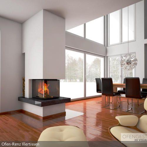 """Panoramakamin aus dem Hause """"Rüegg Cheminée"""". Visualisiert für einen Ofenbauer, der seinem Kunden den zukünftigen Kamin präsentieren konnte. Die Einrichtungen…"""