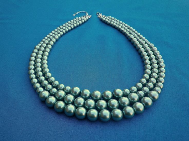 3 Strand Glass Pearl Necklace