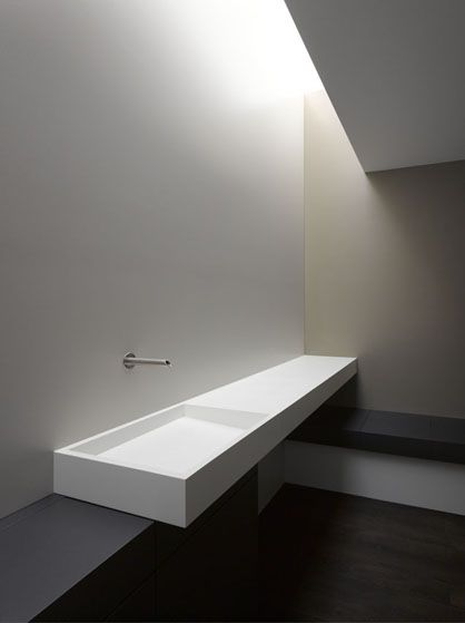 Zapco Ltd, Interior B. Hodel. Photo by Johannes Marburg.Powder Room, Sinks Bathroom, Corian Sinks, Interiors Design, Black White, Bathroom Corian, Bathroom Designs, Bathroom Sinks, Corian Bathroom