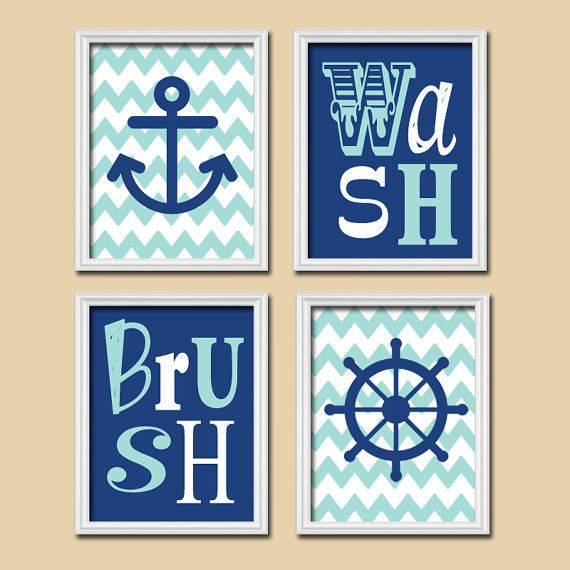 Nautical Bathroom Art   BATHROOM   Anchor Sailboat Art   Bath Artwork   Boy  BATHROOM Navy Blue Aqua Canvas Or Prints Bath Pictures Set Of 4