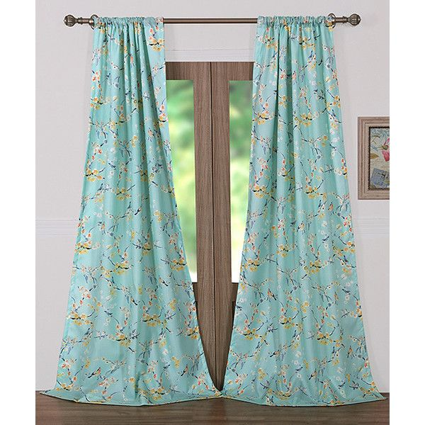 Greenland Home Fashions Teal Cherry Blossom Four Piece Curtain Panel... (96