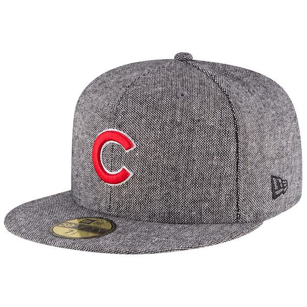 8f648f32a00 Men s Chicago Cubs New Era Heathered Gray Tweed Trim Fitted Hat