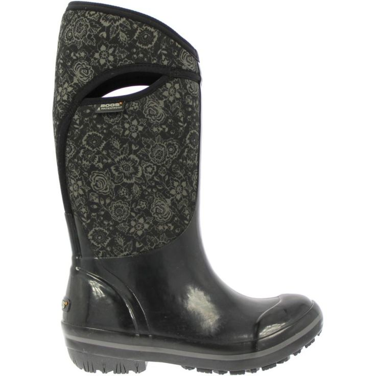 """Bogs Women's Plimsoll Quilted Floral High 13"""" Insulated Waterproof Rain Boots, Size: 8, Black"""