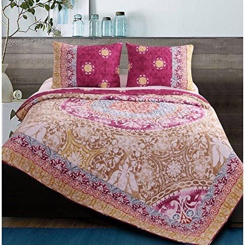 red yellow purple blue king quilt set bohemian themed bedding