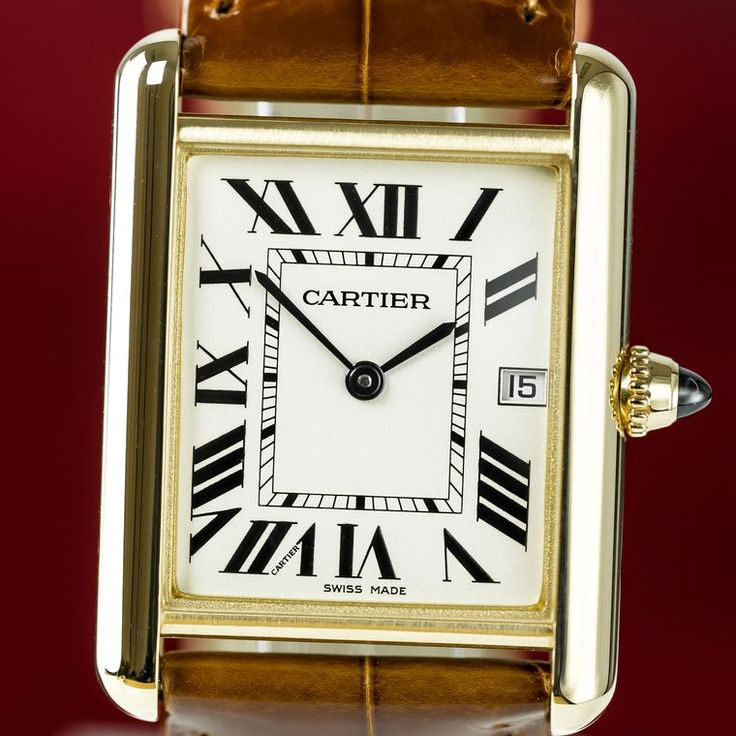 """We couldn't not feature the @cartier Tank watch in our Top 5 Iconic Watches for Men. So great is the myth of the Tank watch that is features in Cartier's permanent collection with its rectangular case, classic Roman numerals, """"railroad"""" minute track, blue-steeled hands and sapphire cabochon in the beaded crown. A man wearing the Cartier Tank certainly is aware of his stylish investments. This model is £7,200. #Cartier #luxurywatch #menswatch #cartierwatch"""