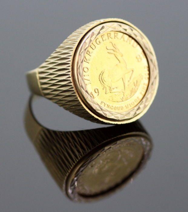 """Vintage """"Gold Krugerrand van Zuid-Afrika 1981"""" 22K Gold Coin in 9K geel gouden Ring Londen 1981 instellen  Vintage """"Gold Krugerrand van Zuid-Afrika 1981"""" 22K Gold Coin in 9K Yellow Gold Ring instellenLonden 1981Volledig hallmarked.Gouden Krugerrand-Dit is het tweede jaar de 1/10 oz Gold Krugerrand was geslagen. Een zeldzame munt te vinden. De Zuid-Afrikaanse goud Krugerrand is's werelds eerste moderne bullion coin Gold en blijft een van de meest populaire munten van goud ooit…"""