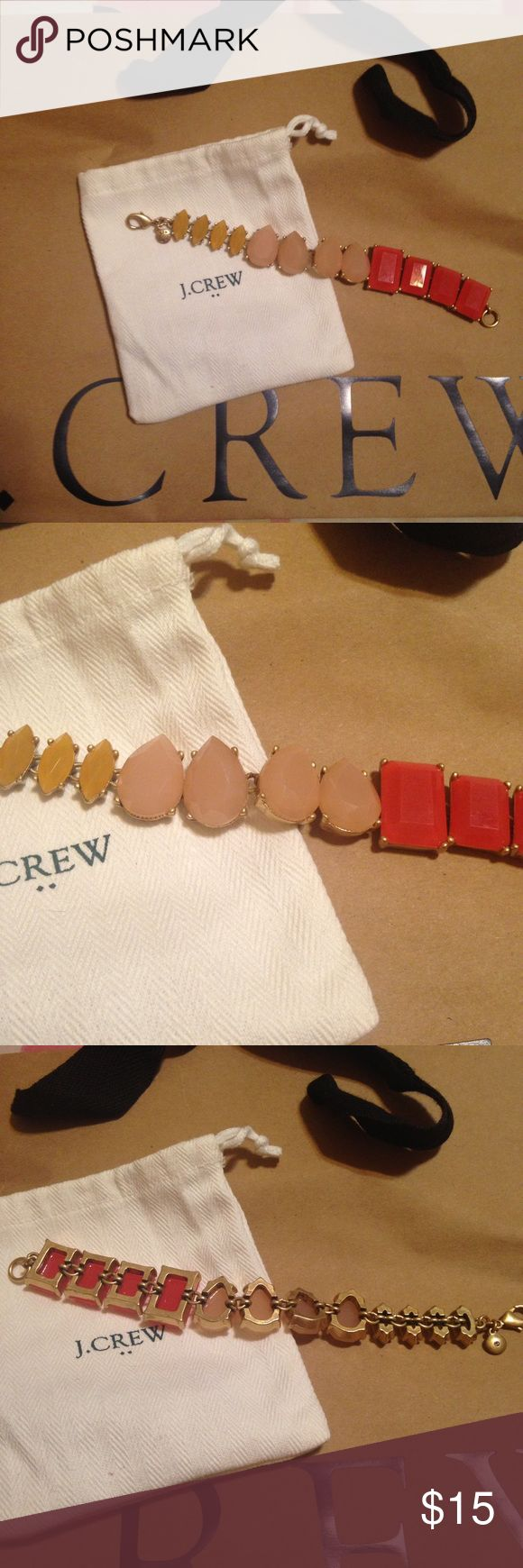 J.Crew Beaded statement bracelet Fun bracelet by J.Crew! Bronze metal links and lobster claw clasp. Stones in watermelon pink, ballet pink and golden yellow add the perfect pop to your outfit! Measures 7 inches long. J. Crew Jewelry Bracelets