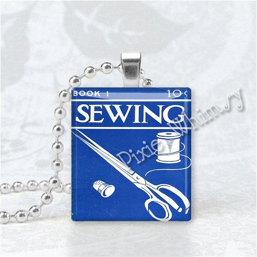 VINTAGE SEWING BOOK Scrabble Tile Jewelry Altered by PixieWhimsy