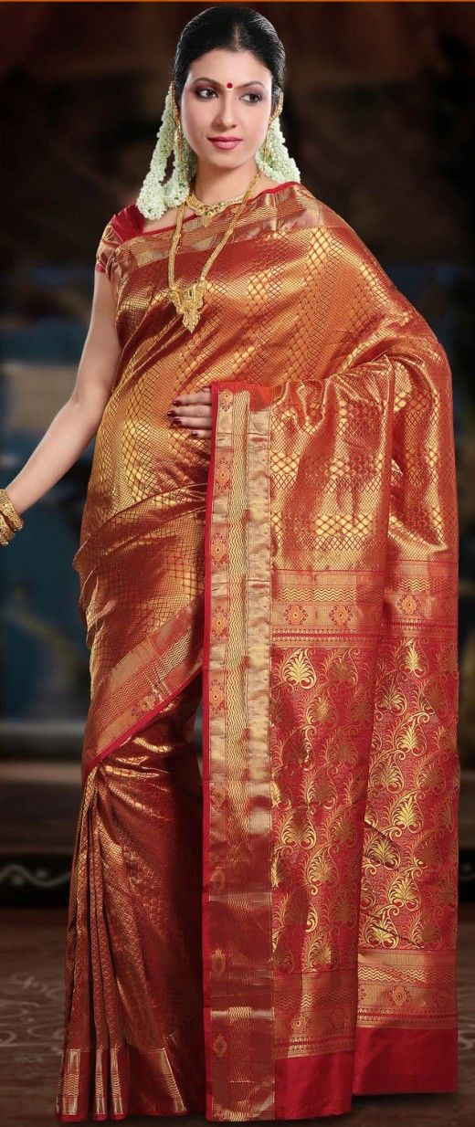 Red Bangalore Silk Saree with Blouse