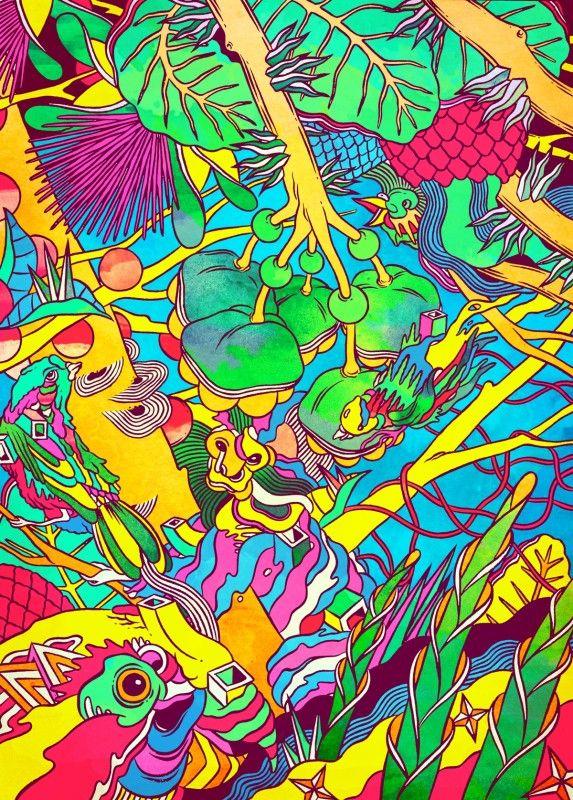 Le collectif brésilien Bicicleta Sem Freio est composé de trois illustrateurs ( Douglas, Victor et Renato ) qui créent des images chargées de couleurs acidulées pour des festivals, des publicités ou du street art. [Via]