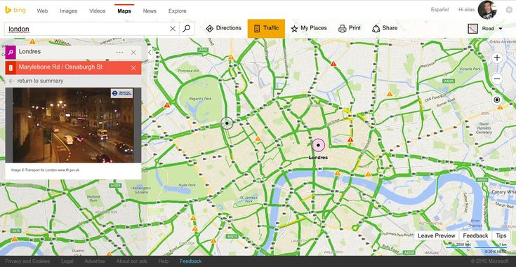 How to access the new traffic cameras feature on Bing Maps