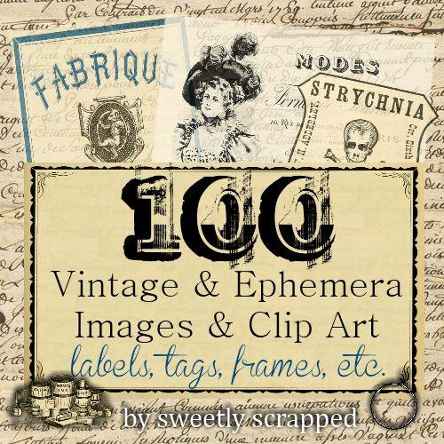 Dulcemente Desechado: 100 Ephemera libre y Clipart Vintage y Imágenes