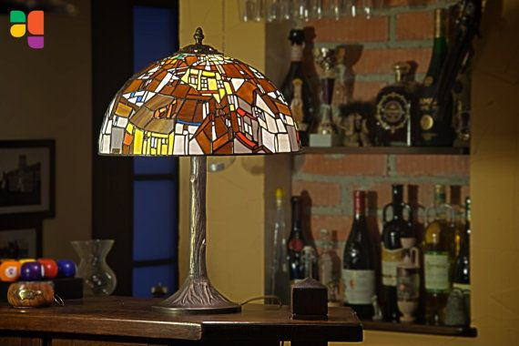 Amazing and unique stained glass lamp. It was inspired by Egon Schiele painting Krumau - Crescent of Houses (The Small City V) from 1915. This lamp is made in tiffany technique, handmade in Piastow, Poland. One of the most amazing work from our workshop, it was made of 800 pieces of glass!    Lamp base and other parts are made of brass. There are two options, we can get you also simple and modern lamp base in the same price!    Lamp is made by me, this is unique piece of art. There are no…