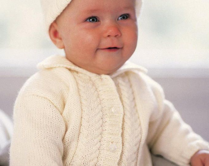 baby knitting pattern cardigan hat booties. 4 ply. 14/20 in chest nb /12m
