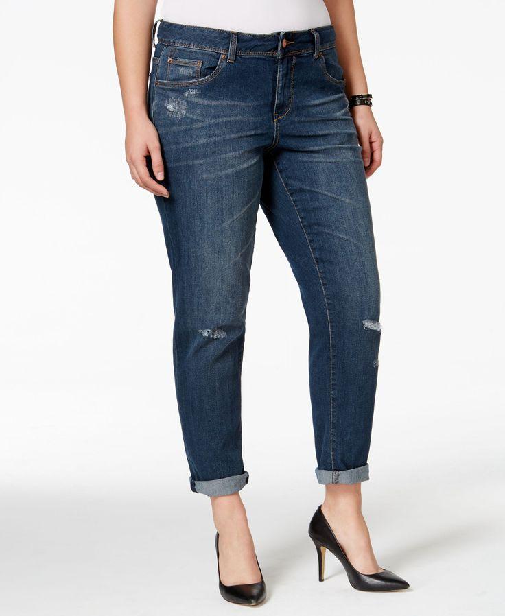 American Rag Plus Size Ripped Boyfriend Jeans, Cecily Wash