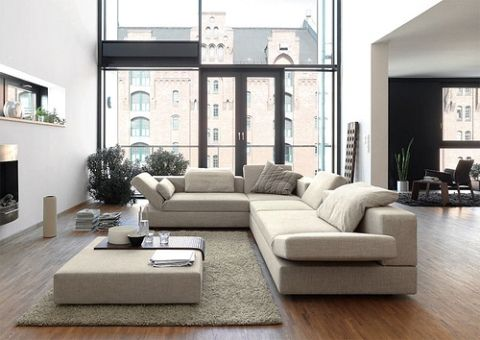 Contemporary living room with low profile upholstery.