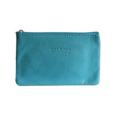 Martha Italian Turquoise Leather Cosmetic/Makeup Bag - £12.99