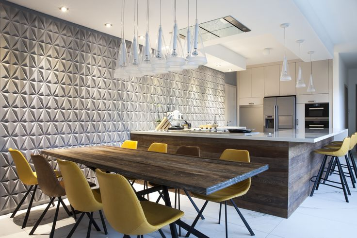 'Seed' concrete tiles by Gillian Blease I KAZA Concrete #featurewall #3Dtiles #surfacedesign #backsplash #interiordesign