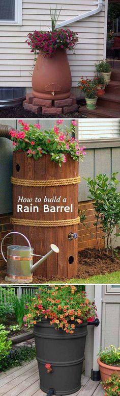 1. Rain water barrel has decorative feature. #diy #rainy #downspout #landscaping