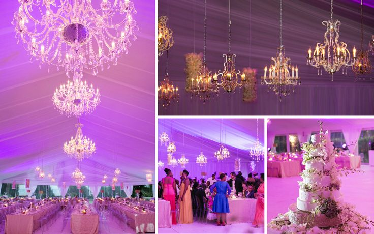 Luxurious crystal chandeliers that fill the marquee - by Wedding Concepts #chandeliers #wedding #lighting #luxury #marquee #gold #purple #pink #southafrica #weddingconcepts
