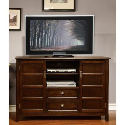Simpli Home Burlington 54 in. W x 36 in. H Tall TV Stand in Coffee Brown-3AXCBURTVS - The Home Depot