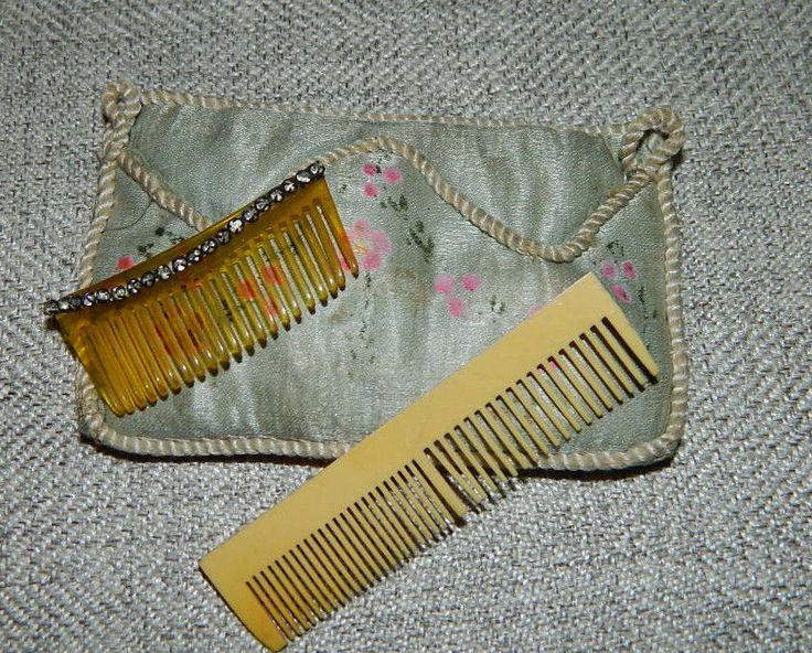 Antique French Fashion Doll Accessory Lot Rhinestone Hair Pick & Comb Silk Pouch | eBay