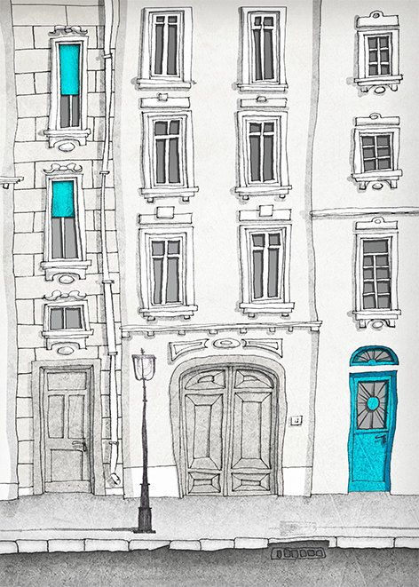 SALE Paris illustration The magic door vertical version by tubidu